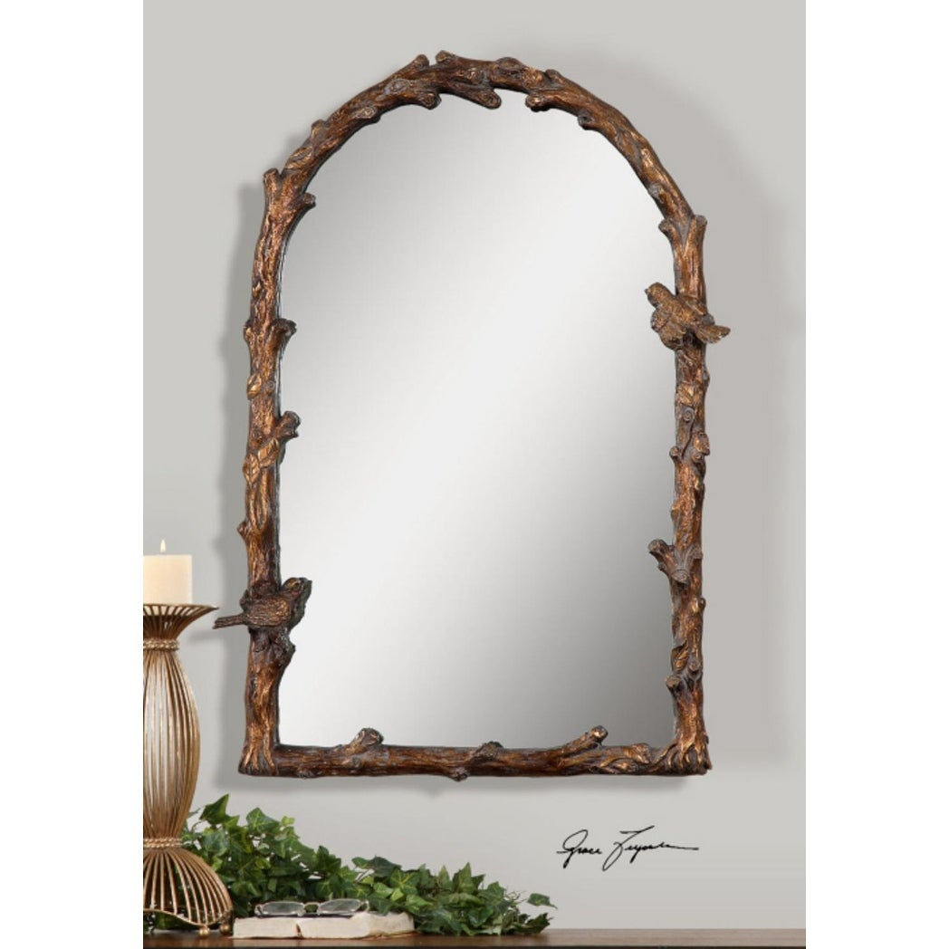 "37""h Brown/golden Branch And Bird Detailed Hanging Arched Top Wall Mirror –  Gold – N/a Throughout Arch Vertical Wall Mirrors (Image 1 of 20)"