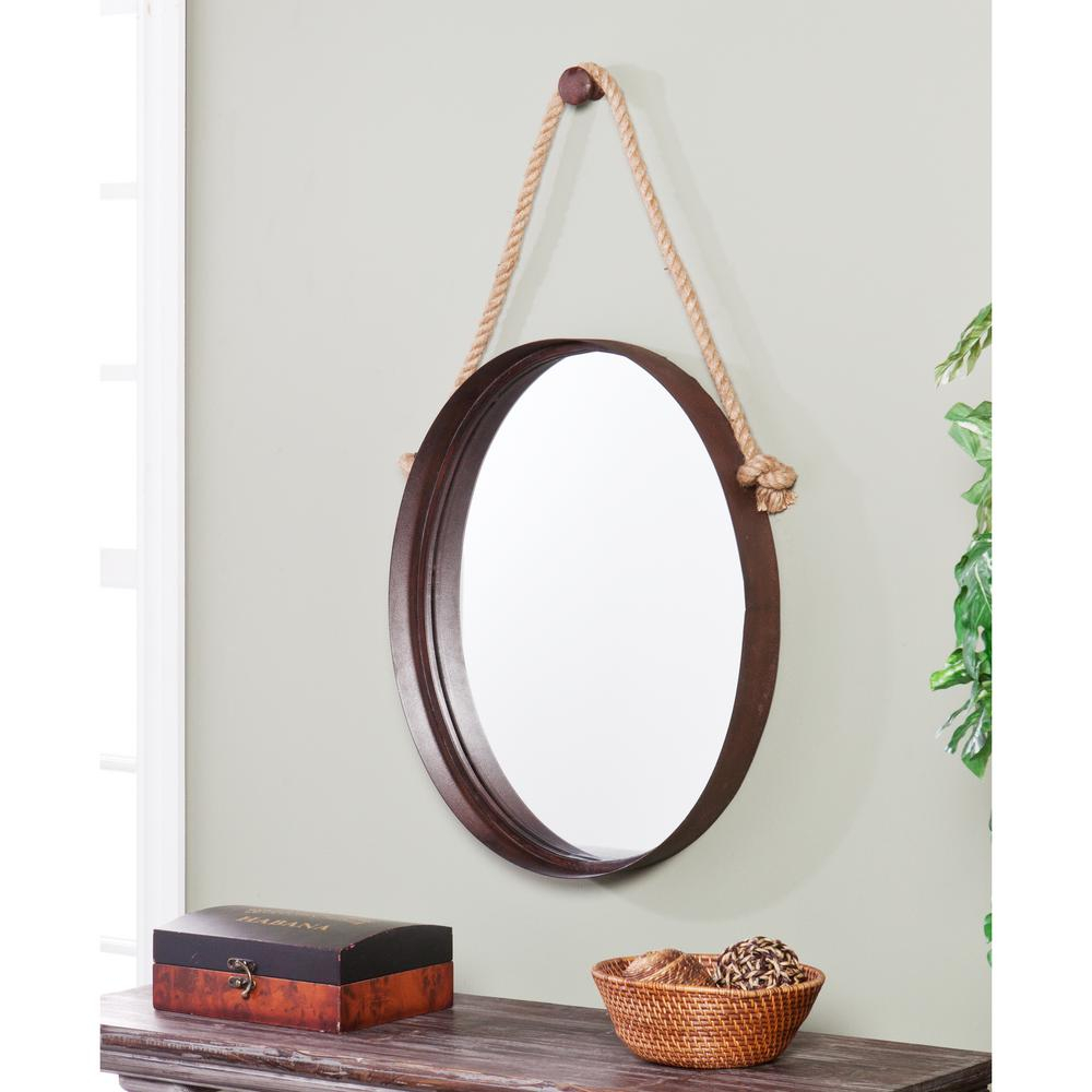 38.5 In. X 20.5 In. Rich Rust Melinda Decorative Framed Mirror In Oval Metallic Accent Mirrors (Photo 11 of 20)