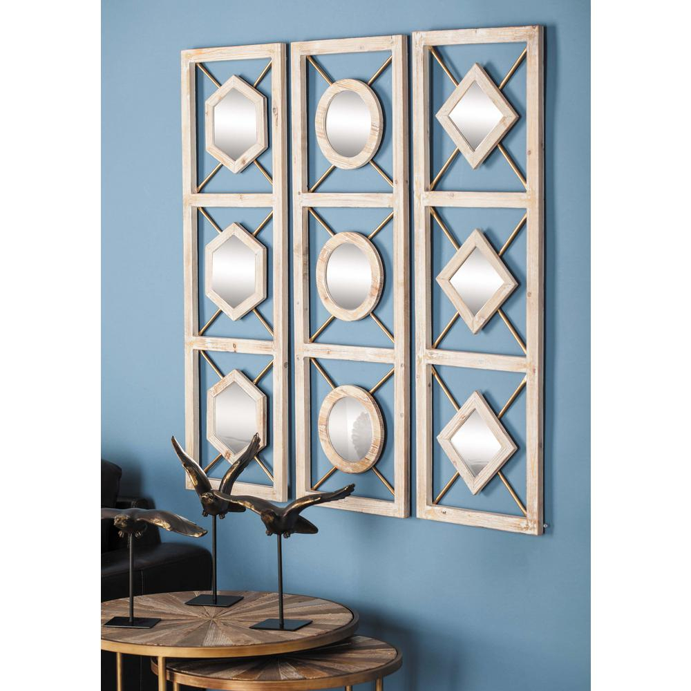 39 In. X 13 In. Diamond Paneled Framed Wall Mirrors (Set Of 3) With Rectangle Ornate Geometric Wall Mirrors (Photo 16 of 20)