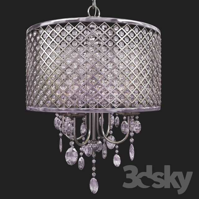 3D Models: Ceiling Light – Suspension Aurore 4 Light Led For Aurore 4 Light Crystal Chandeliers (Photo 7 of 20)