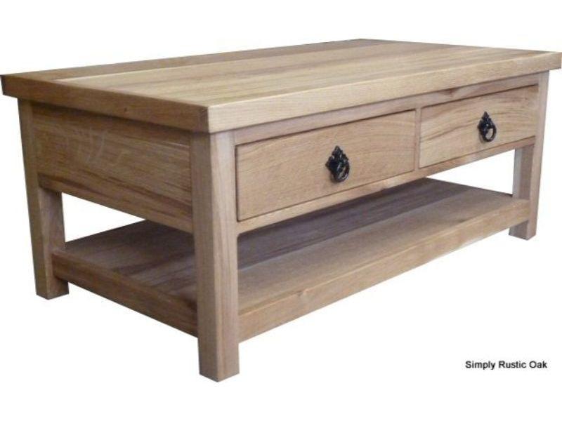 4 Drawer Rustic Oak Coffee Table In Rustic Oak Coffee Tables (View 6 of 25)