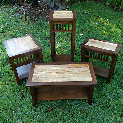 4 Piece Mission Style Walnut & Cherry: Coffee Table, 2 End Tables & Tall Stand | Ebay Within Mission Walnut Coffee Tables (View 17 of 25)