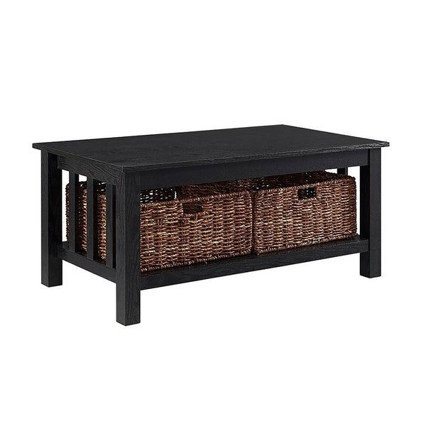 "40"" Wood Storage Coffee Table With Wicker Totes – Black Regarding Gracewood Hollow Salinger Prentice Cocktail Tables (View 14 of 25)"