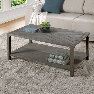 """42"""" Wood Chevron Coffee Table Gray – Saracina Home In 2019 Regarding Silver Orchid Henderson Faux Stone Round End Tables (View 19 of 25)"""