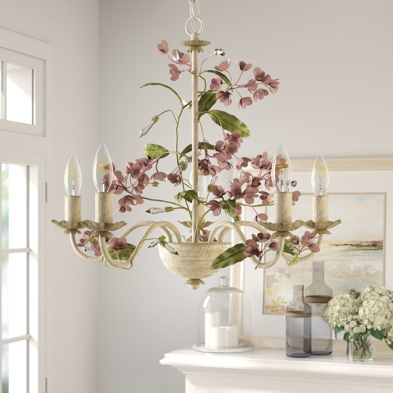 5 Light Candle Style Chandelier For Hesse 5 Light Candle Style Chandeliers (Image 1 of 20)