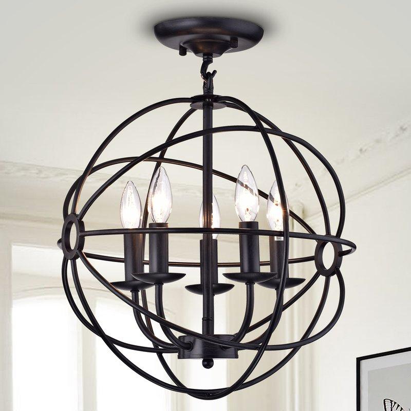 5 Light Globe Chandelier Intended For Verlene Foyer 5 Light Globe Chandeliers (View 6 of 20)