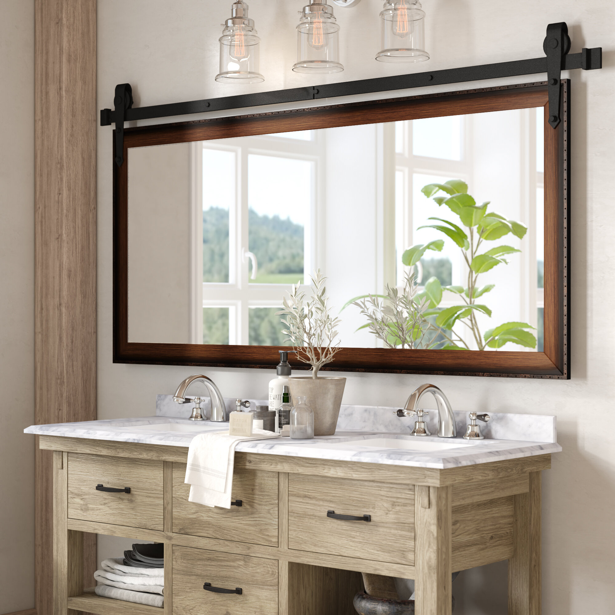 56 Inch Bathroom Vanity Mirror | Wayfair In Vanity Mirrors (View 11 of 20)