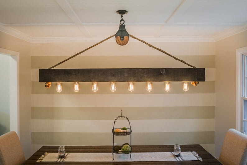 6 Ft Rustic Beam Edison Bulb Chandelier With Vintage Barn Pulley Throughout Adcock 3 Light Single Globe Pendants (Image 1 of 25)