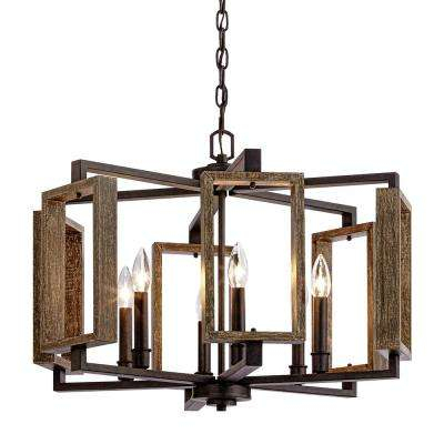 6 Light Aged Bronze Pendant With Wood Accents With Vincent 5 Light Drum Chandeliers (Image 2 of 25)