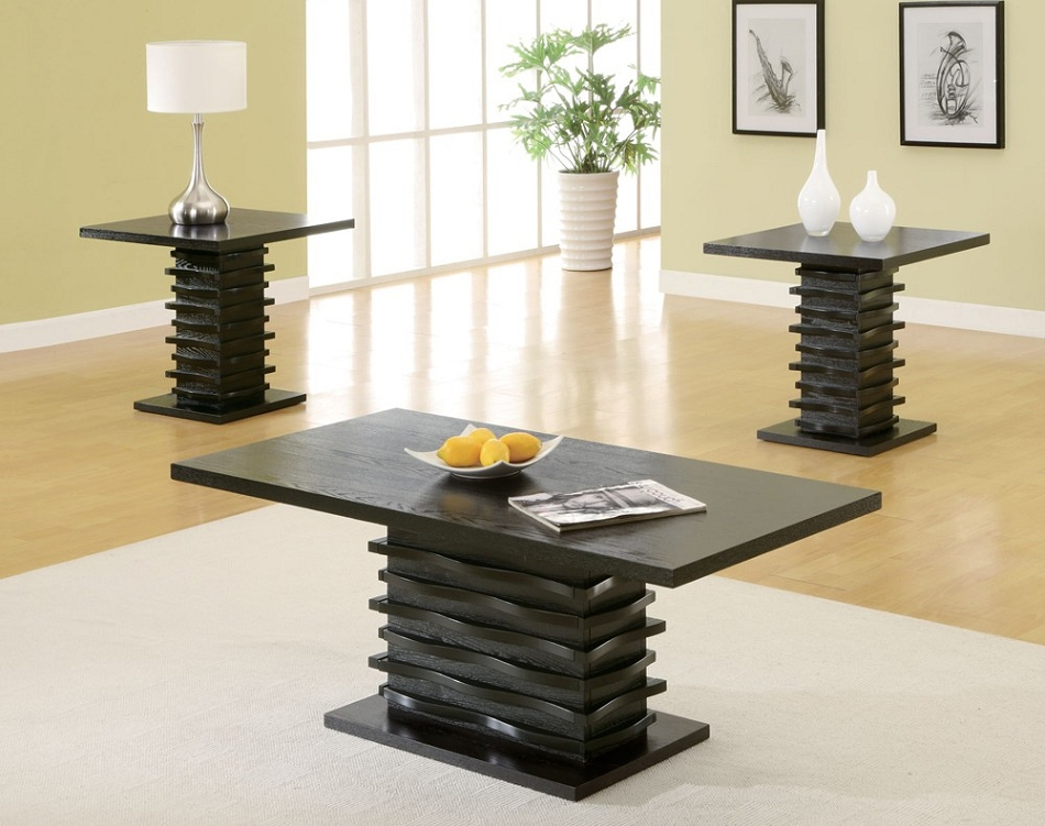 701514 Contemporary 3 Piece Coffee Table And End Table Set Intended For Occasional Contemporary Black Coffee Tables (Photo 7 of 25)