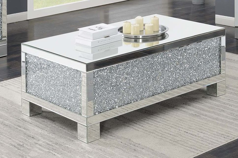 722498 Coffee Table In Mirror & Crystalcoaster W/options For Coaster Company Silver Glass Coffee Tables (Image 4 of 25)