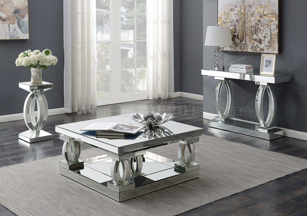 722518 Coffee Table In Mirror & Rhinestonescoaster W/options With Regard To Coaster Company Silver Glass Coffee Tables (Image 5 of 25)