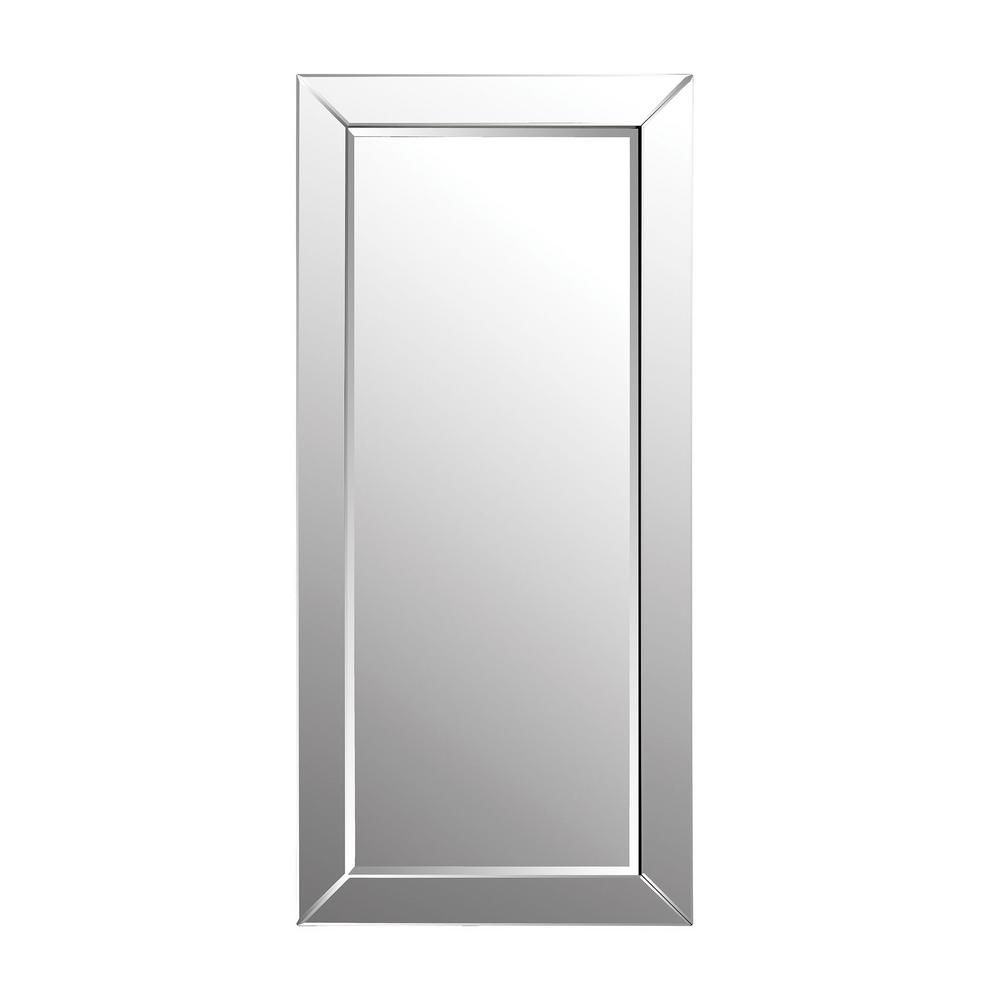 78 In. X 36 In. Glass Framed Leaning Floor Mirror For Leaning Mirrors (Photo 15 of 20)