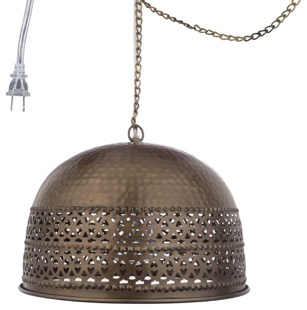 """8"""" Dome Rolled Edge 1 Light Pierced Metal Pendant, Antiqued Brass Pertaining To Ryker 1 Light Single Dome Pendants (View 16 of 25)"""