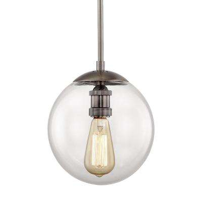 9 In. 1 Light Historic Nickel Globe Pendant With Vintage Bulb Included Pertaining To Irwin 1 Light Single Globe Pendants (Photo 12 of 25)