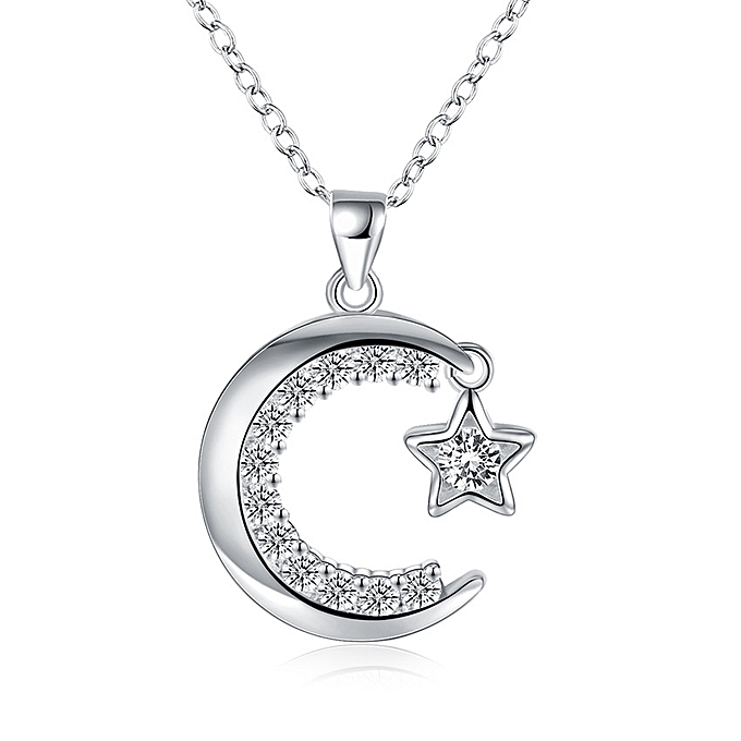 925 Silver Plated Zircon Moon And Star Pendant Necklace Chain For Women In 1 Light Single Star Pendants (Photo 21 of 25)
