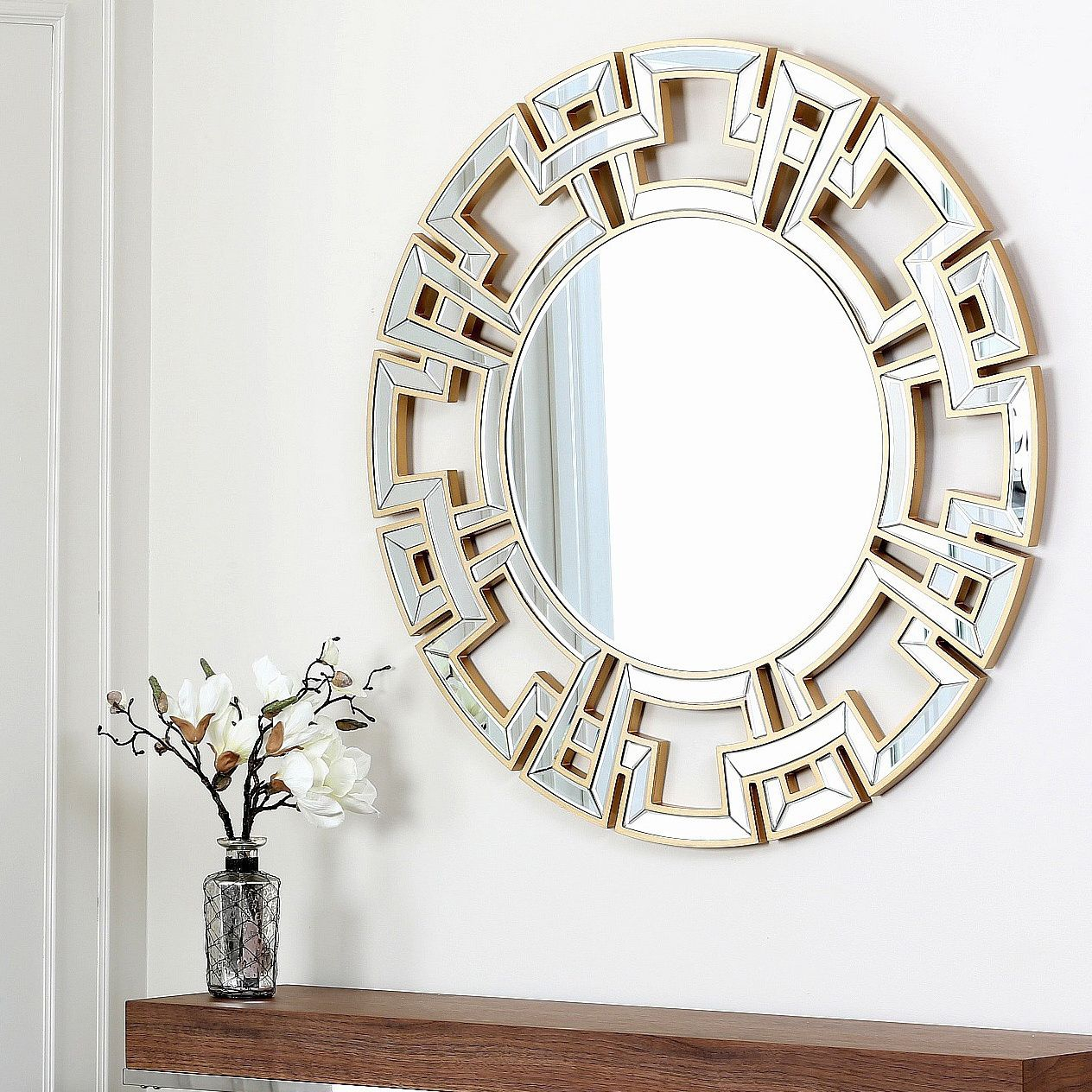 Abbyson Living Pierre Gold Round Wall Mirror – Overstock Throughout Tata Openwork Round Wall Mirrors (Image 2 of 20)
