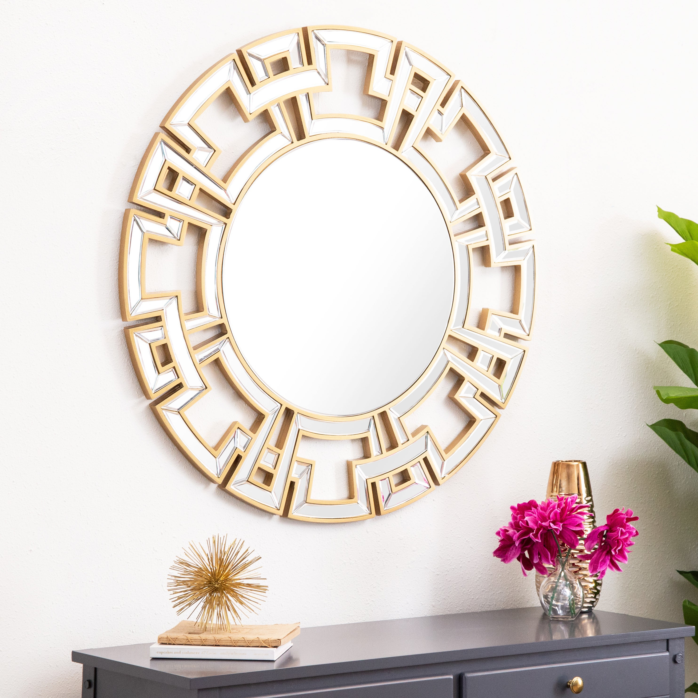 Abbyson Pierre Gold Round Wall Mirror Intended For Round Eclectic Accent Mirrors (Image 1 of 20)