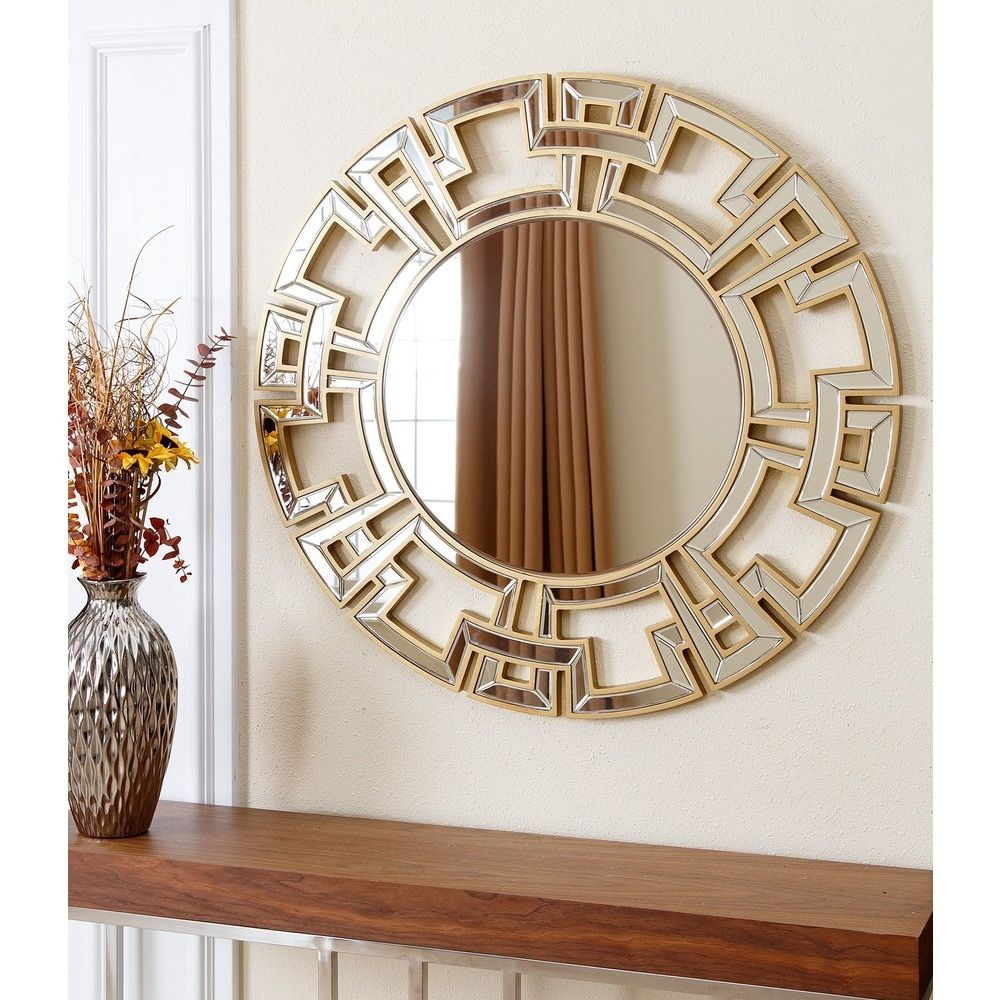 Abbyson Pierre Gold Round Wall Mirror (Wood – Gold – Glam For Tata Openwork Round Wall Mirrors (Image 3 of 20)