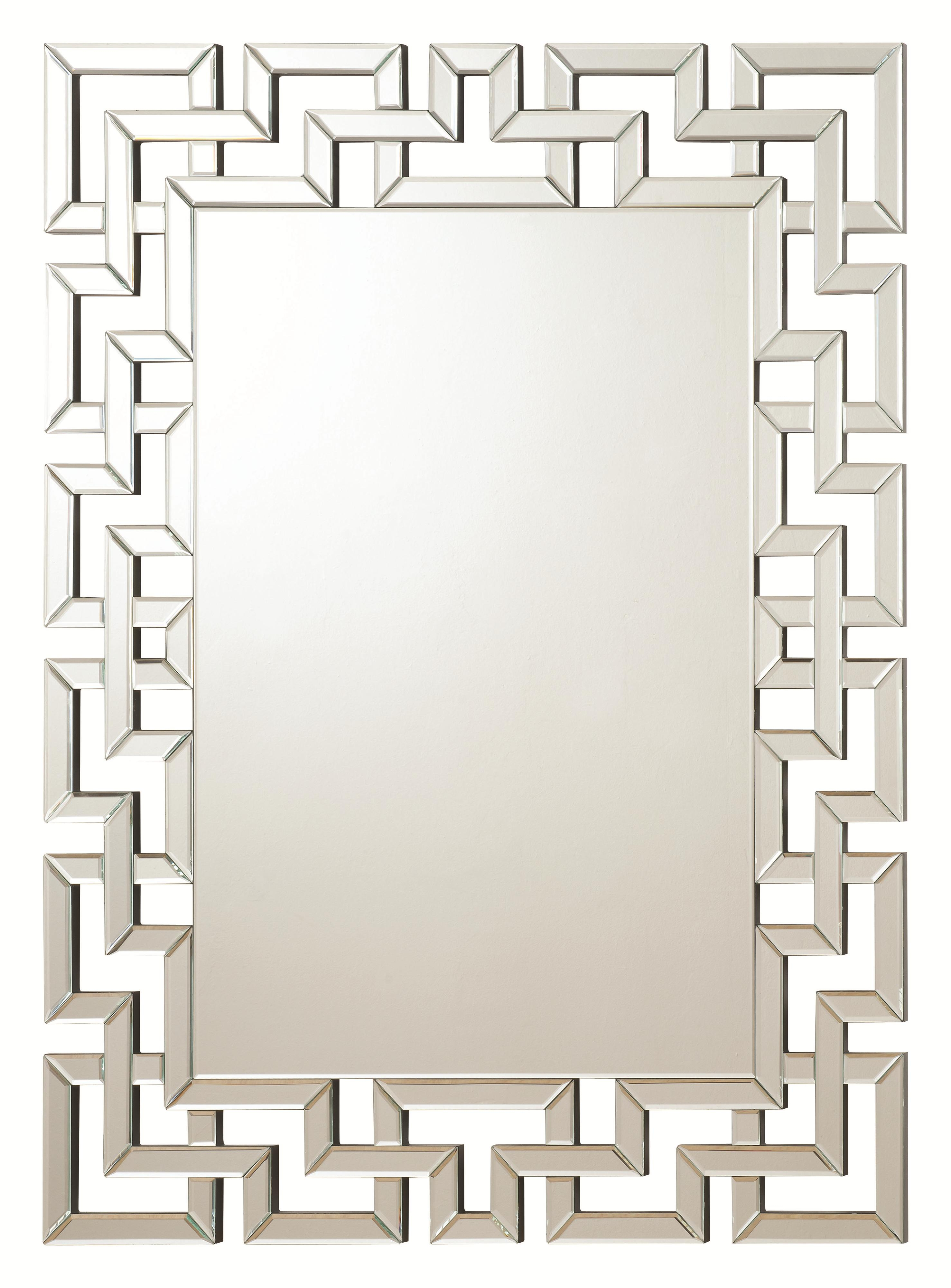 Accent Mirrors Frameless Greek Key Mirrorcoaster At Dunk & Bright  Furniture With Regard To Accent Mirrors (Image 4 of 20)
