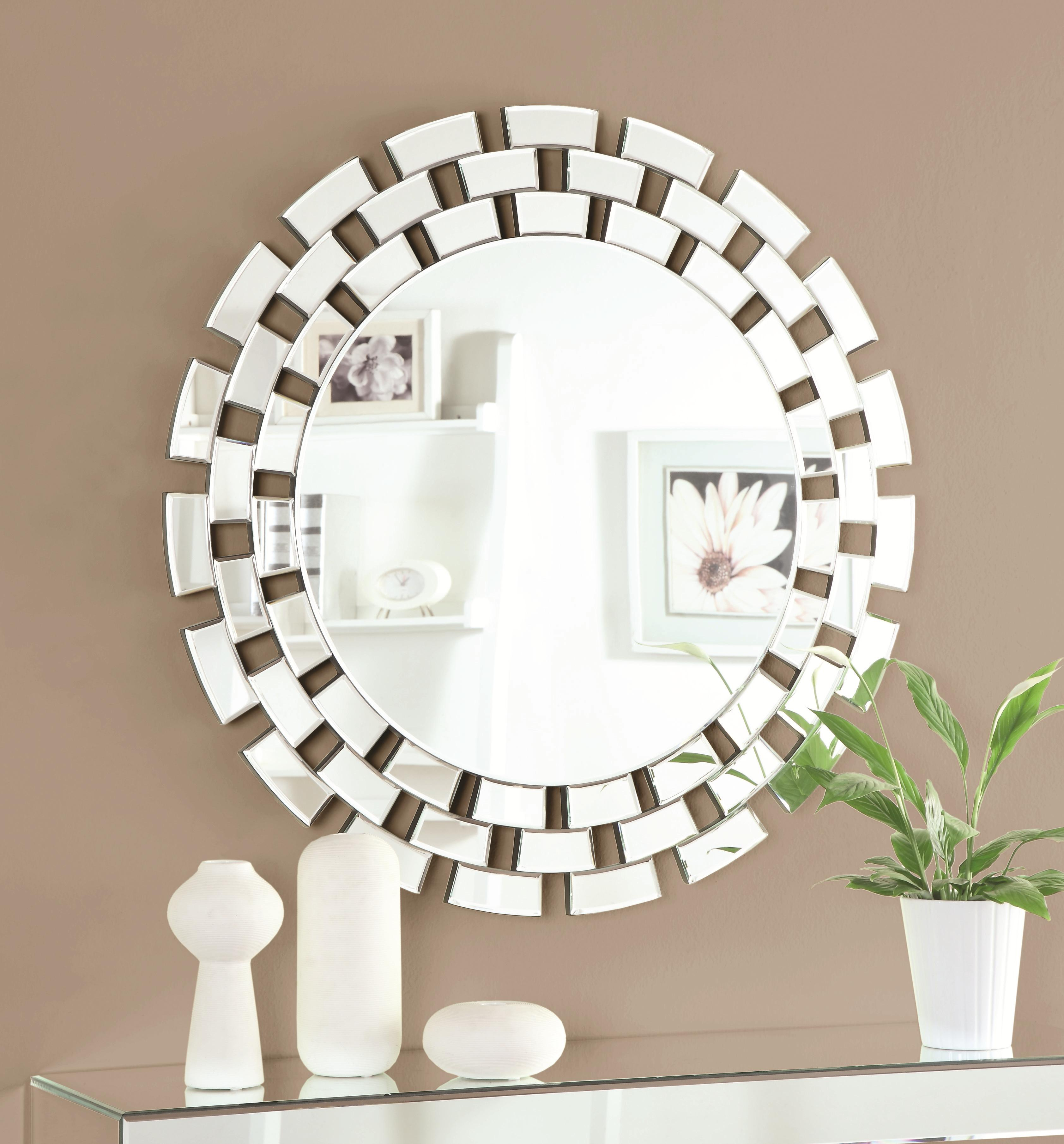 Accent Mirrors Round Wall Mirror With Geometric Frame With Regard To Grid Accent Mirrors (Image 1 of 20)