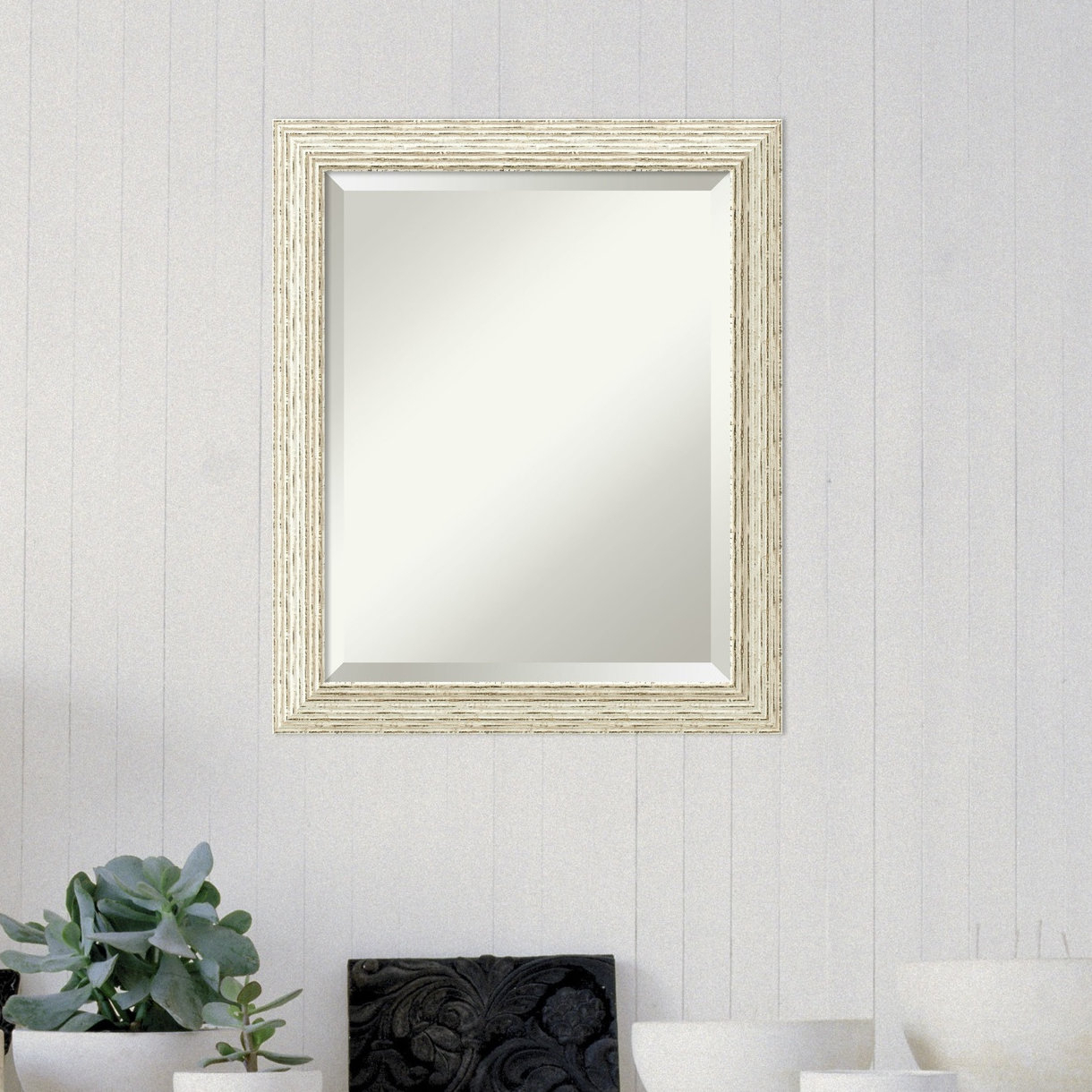 Accent Rectangle White Wood Framed Medium Wall Mirror Throughout Rectangle Accent Wall Mirrors (View 11 of 20)