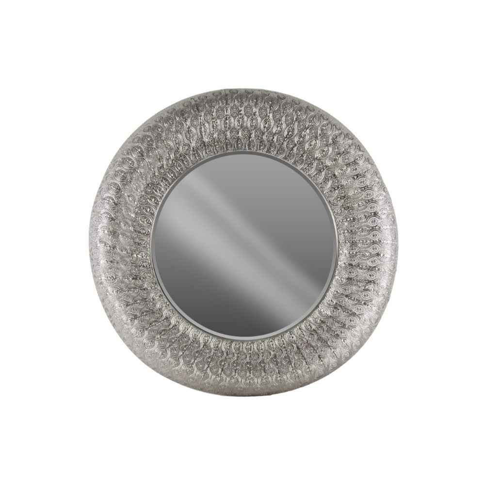 Accent Round Wall Mirror Parquet Pierced Metal Frame Silver In Silver Frame Accent Mirrors (View 13 of 20)