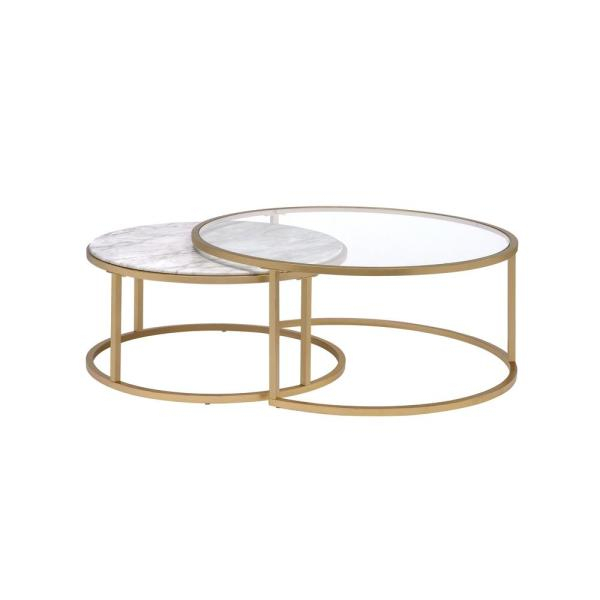 Acme Furniture Shanish Faux Marble And Gold 2 Piece Pack Regarding Coaster Company Silver Glass Coffee Tables (Image 6 of 25)