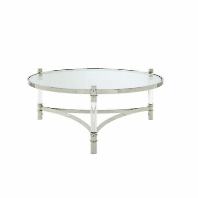 Acrylic And Stainless Steel Round Coffee Table With Glass Top, Silver And Clear 192551233218 | Ebay Intended For Elowen Round Glass Coffee Tables (View 13 of 25)
