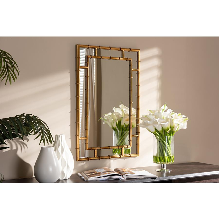 Adra Modern And Contemporary Gold Finished Bamboo Accent Wall Mirror In Accent Wall Mirrors (Image 4 of 20)