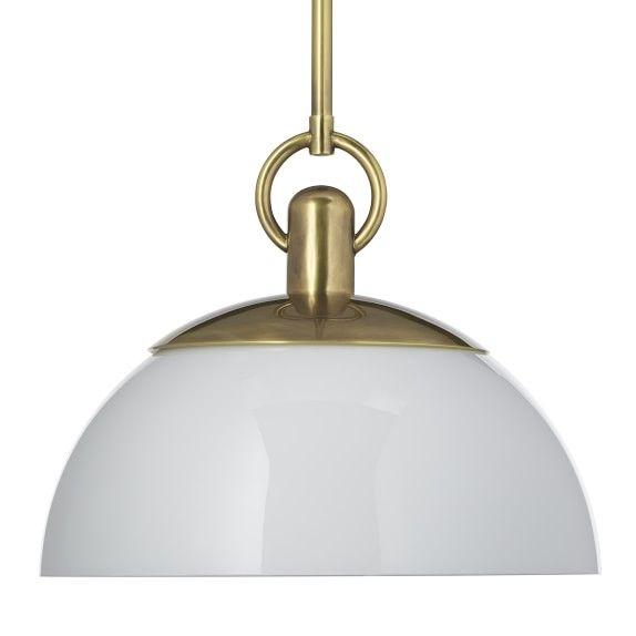 Adriana Pendant, Dome, Antique Brass, Glass | Dream Kitchens For Adriana Black 1 Light Single Dome Pendants (Image 3 of 25)