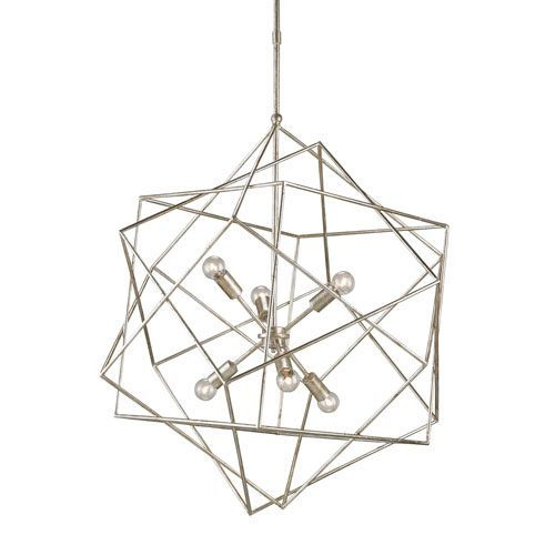 Aerial Silver Granello 31 Inch Six Light Pendant | Lighting Pertaining To Hydetown 1 Light Single Geometric Pendants (Image 4 of 25)