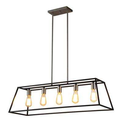 Agnes Ii 5 Light Black Pendant Throughout Novogratz Vintage 5 Light Kitchen Island Bulb Pendants (View 10 of 25)