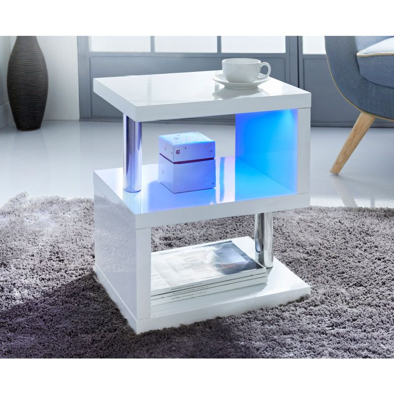 Alaska High Gloss Side Table | Apartment In 2019 | White For Strick & Bolton Sylvia Geometric High Gloss Coffee Tables (Image 1 of 25)