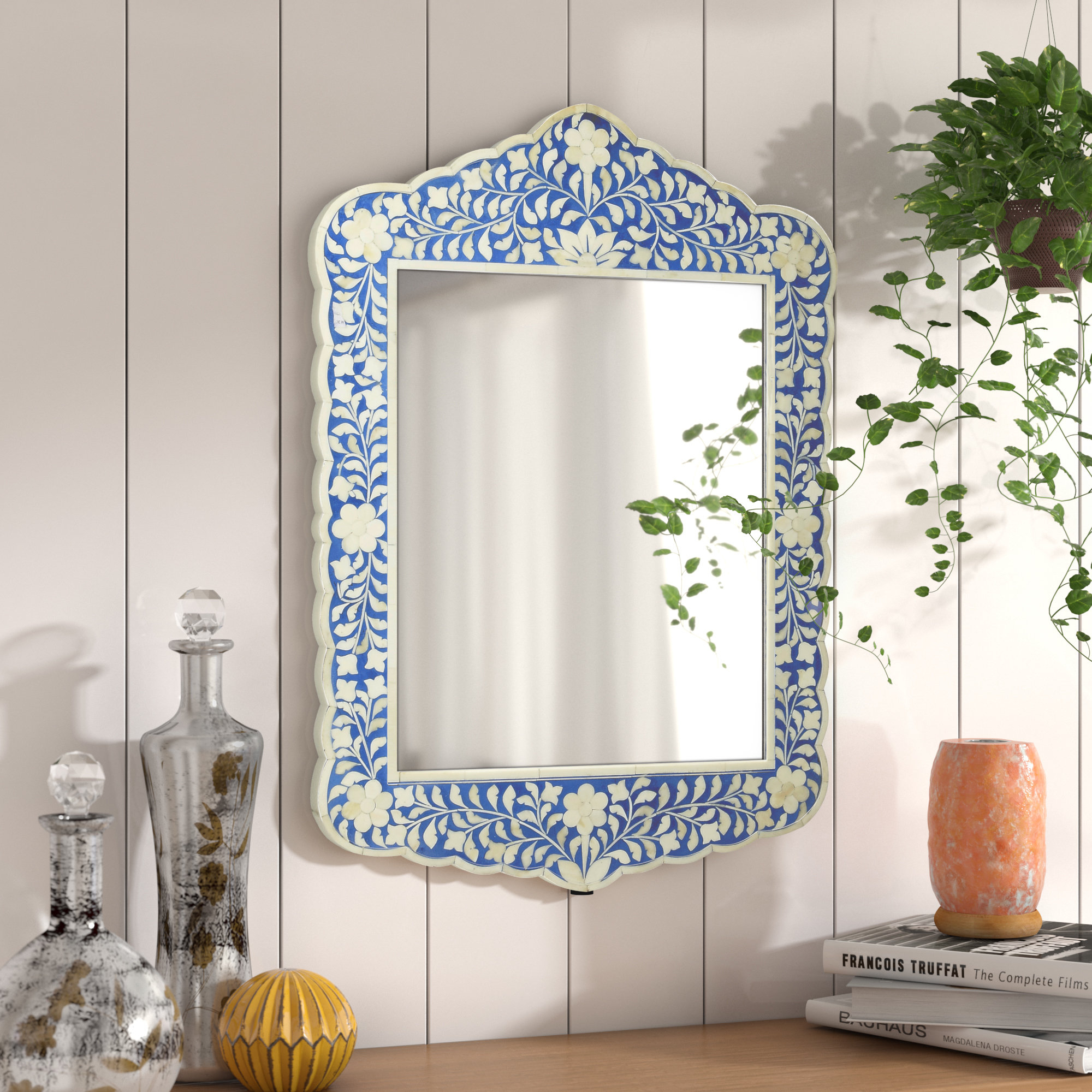 Alayna Botanic Bone Inlay Traditional Beveled Distressed Accent Mirror Inside Traditional Beveled Accent Mirrors (Image 1 of 20)