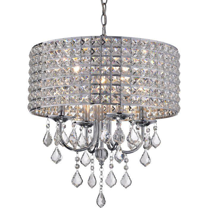 Albano 4 Light Crystal Chandelier In 2019 | Lighting | Drum Within Albano 4 Light Crystal Chandeliers (View 9 of 20)