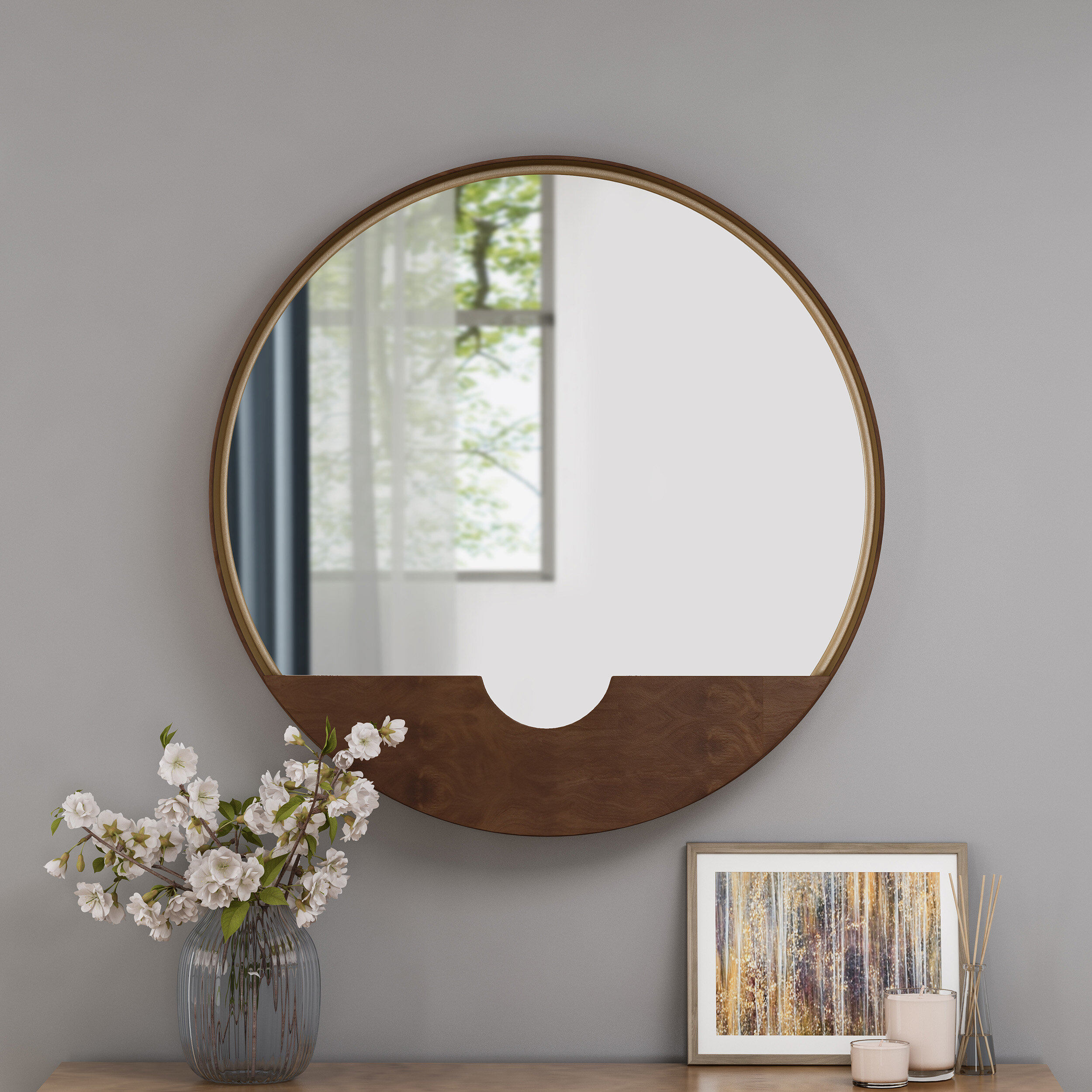Albertson Round Minimalistic Metal Accent Mirror With Regard To Swagger Accent Wall Mirrors (View 4 of 20)
