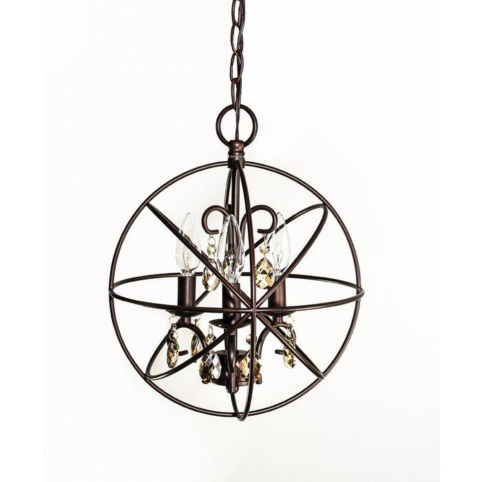 Alden 3 Light Single Globe Pendant Intended For Adcock 3 Light Single Globe Pendants (Image 11 of 25)