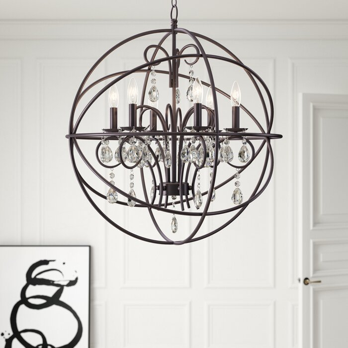 Alden 6 Light Globe Chandelier For Alden 3 Light Single Globe Pendants (View 8 of 20)
