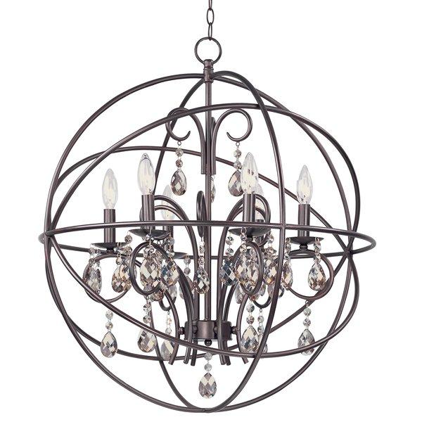 Alden 6 Light Globe Chandelier Regarding Verlene Foyer 5 Light Globe Chandeliers (View 17 of 20)