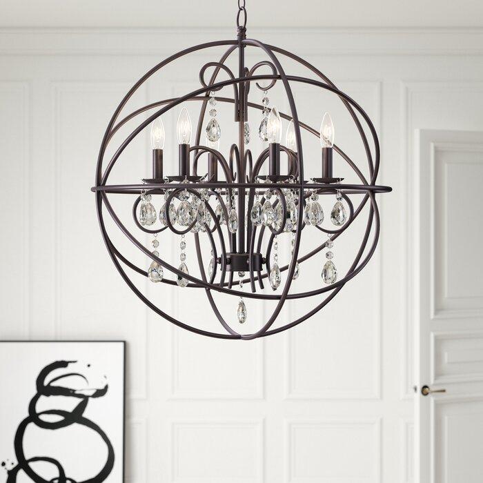 Alden 6 Light Globe Chandelier Throughout Joon 6 Light Globe Chandeliers (Image 5 of 20)