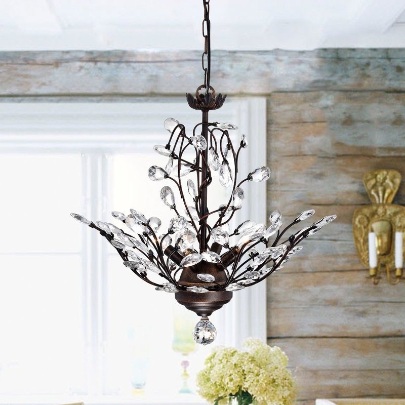 Alijah 4 Light Led Candle Style Chandelier With Clea 3 Light Crystal Chandeliers (Image 5 of 20)