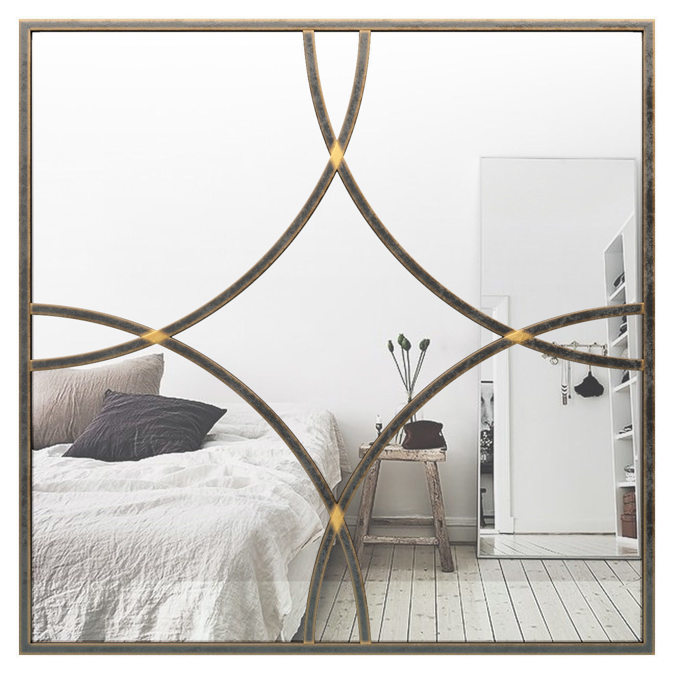 Allaryce Square Medallion Metal Accent Mirror Tcdt1004 | 3D Model Intended For Medallion Accent Mirrors (Image 3 of 20)