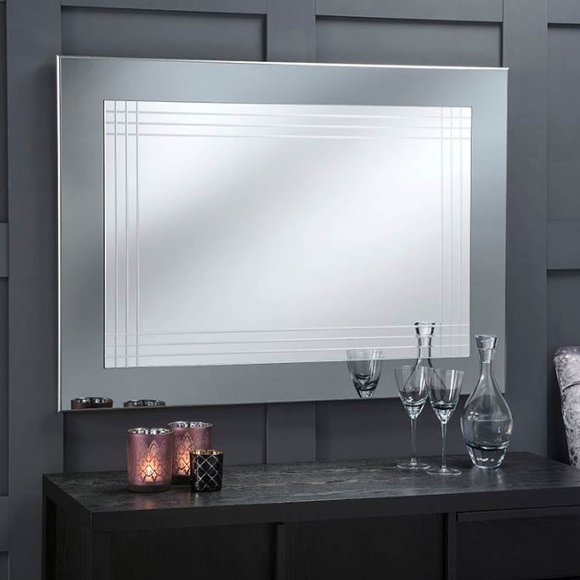 Alluring Large Modern Mirrors Album Unblocked Niall Justin Within Hogge Modern Brushed Nickel Large Frame Wall Mirrors (Image 1 of 20)