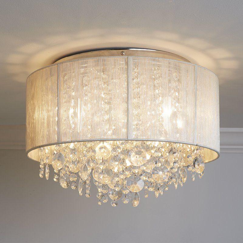 Alvarez String Beaded Ceiling 3 Light Flush Mount   Entry Within Alverez 4 Light Drum Chandeliers (Image 3 of 20)