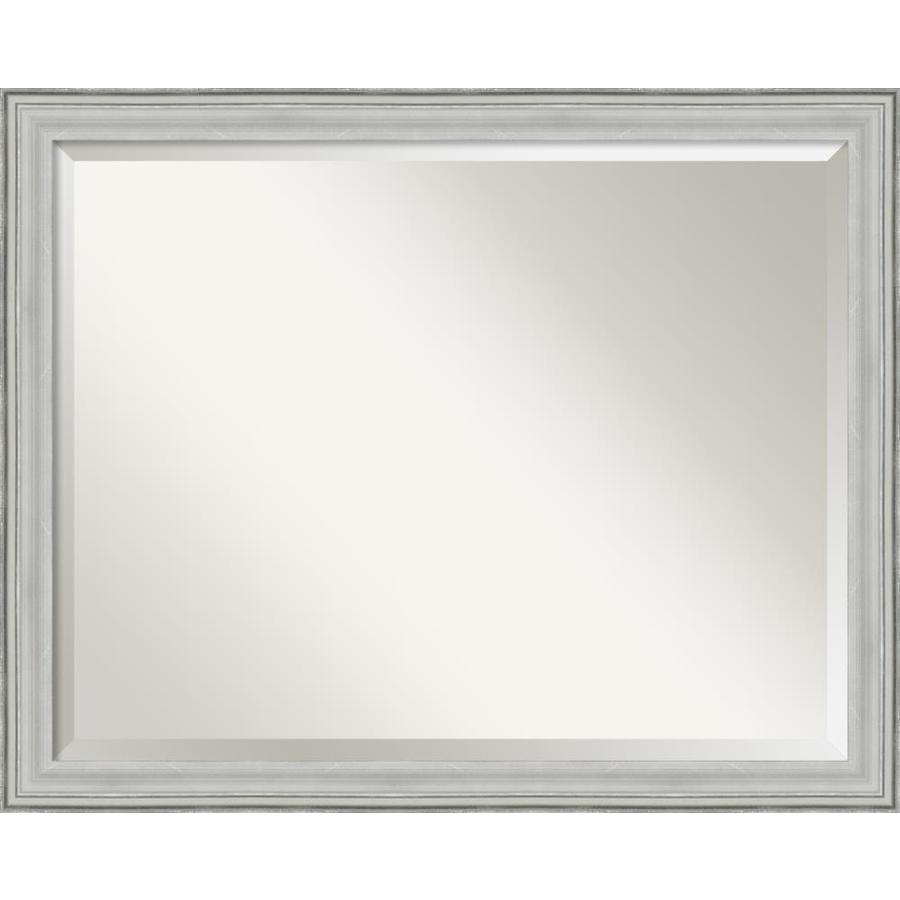 Amanti Art Bel Volto 25 In L X 31 In W Burnished Antique For Rectangle Pewter Beveled Wall Mirrors (Image 3 of 20)