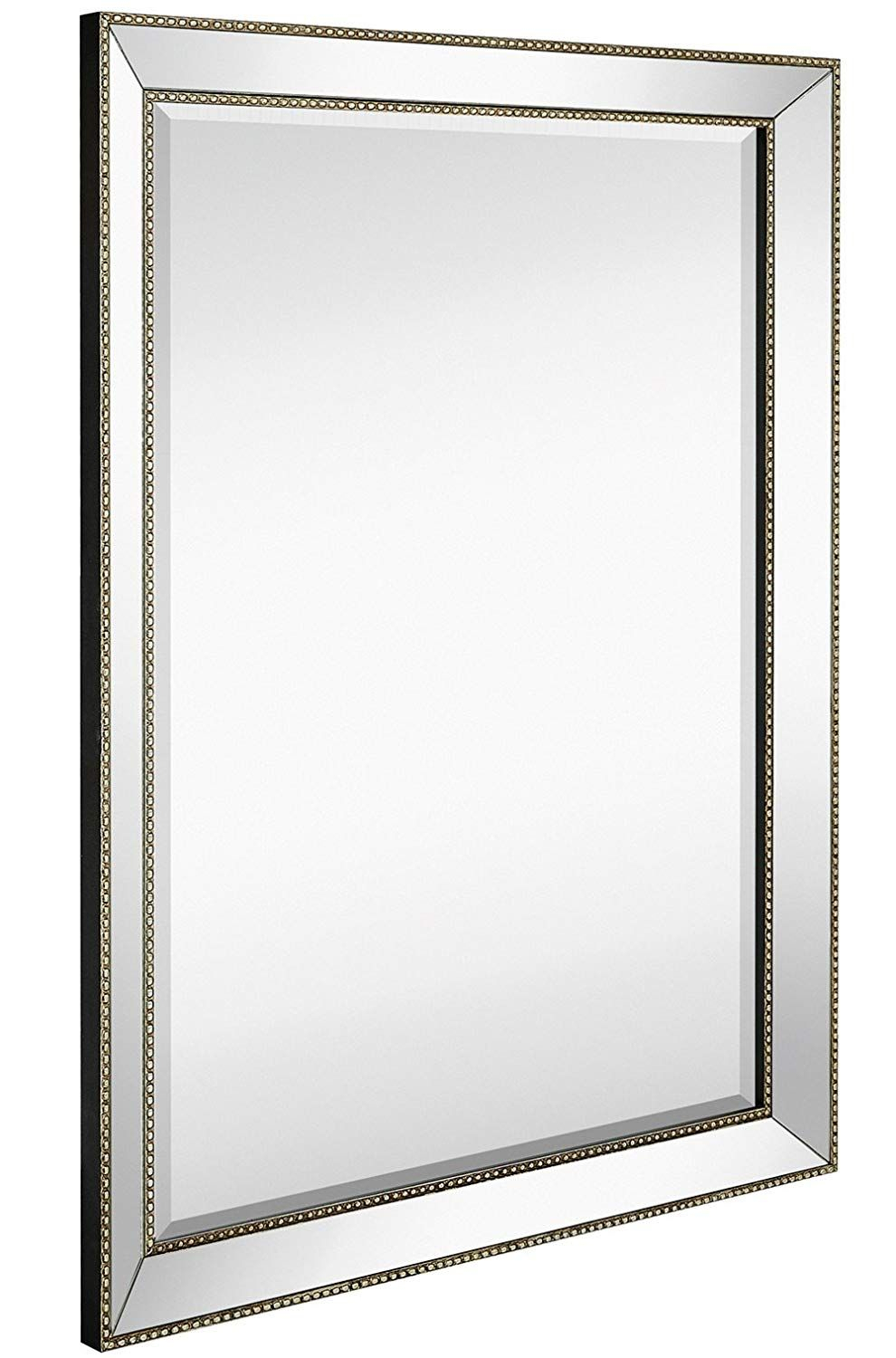 Amazon: Large Framed Wall Mirror With Angled Beveled Throughout Beaded Accent Wall Mirrors (View 7 of 20)