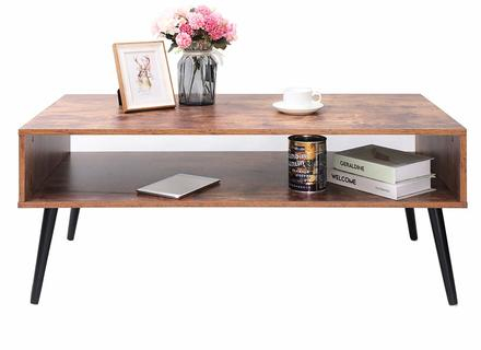 Amazoncom: Iwell Mid Century Coffee Table With Storage Shelf For Carson Carrington Astro Mid Century Coffee Tables (View 19 of 25)