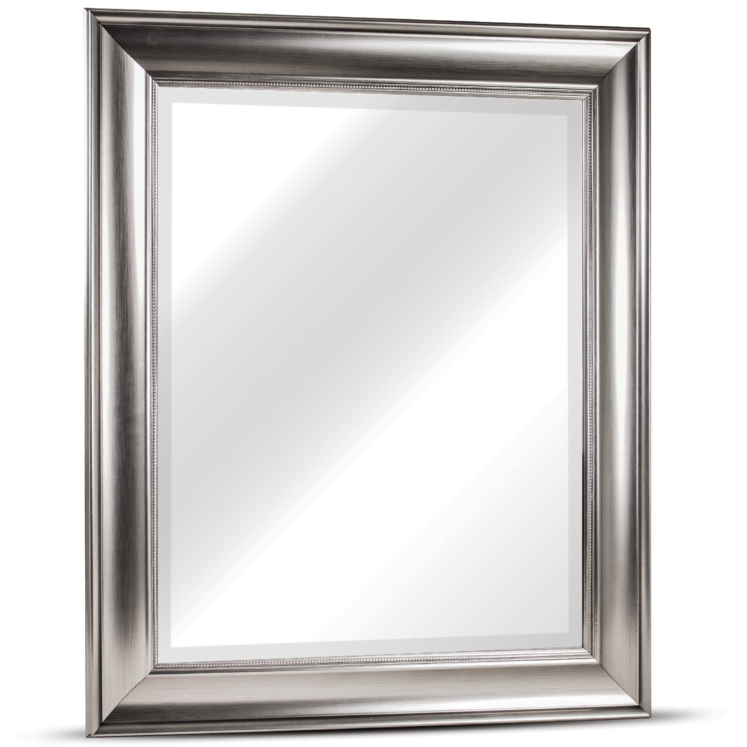 American Art Decor Clarence Medium Rectangular Silver Textured Accent  Framed Beveled Wall Vanity Mirror – A/n Pertaining To Rectangle Pewter Beveled Wall Mirrors (Image 4 of 20)