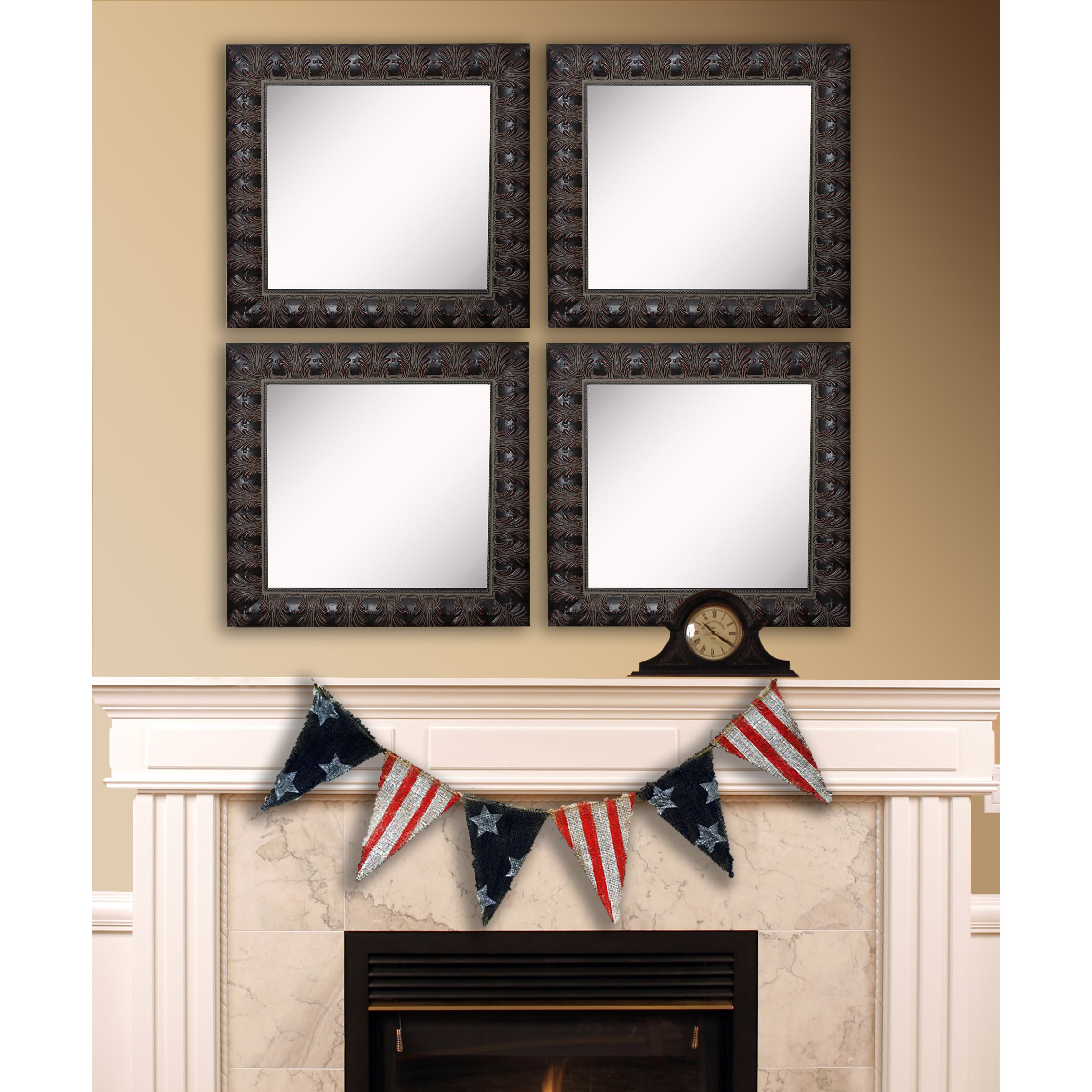 American Made Rayne Feathered Accent Square Wall Mirror Set – Dark Mahogany With American Made Accent Wall Mirrors (View 11 of 20)